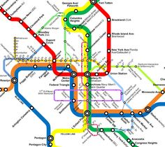 Metro Map. DC's metro consists of a red, blue, orange, green, and yellow line.