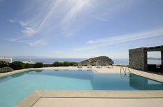 Villa Royal is a modern villa with vast outdoor space combining elements such as steel, wood and stone all in harmony and with great elegance. Villa, Mykonos, Pools, Greece, Modern, Outdoor, Greece Country, Outdoors, Trendy Tree