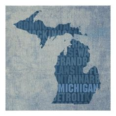 Michigan State Outline Word Map on Canvas Poster