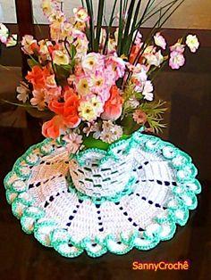 Sanny Crochê: Toalhinha de mesa Crochê - modelo Porta Vaso