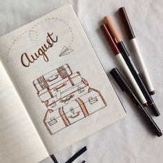Hello August! Lots of travelling this month so that's my theme. So excited for the adventures and finally going home! #bulletjournal #bujo #helloaugust #august #spread #leuchtturm1917 #plannercommunity #bujocommunity