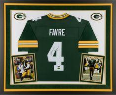 c4dcb3ebb6 Brett Favre GB Packers Framed Signed Green Jersey w/ HOF 16 Insc - Fanatics  #