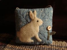 PRIMITIVE ~ RABBIT ON OLD QUILT DOOR PILLOW ~ ORIGINAL FOLK ART