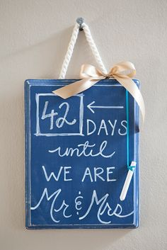 DIY Wedding Countdown Chalkboard Sign from #12monthsofmartha blogger, Something Turquoise! Use Erasable Liquid Chalk from #marthastewartcrafts to make your own