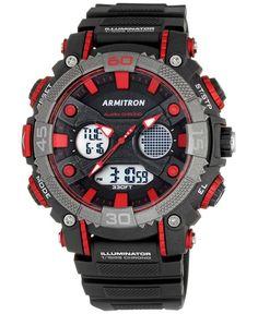 Armitron Men's Analog-Digital Chronograph Black Resin Strap Watch 50mm 20-5108RED