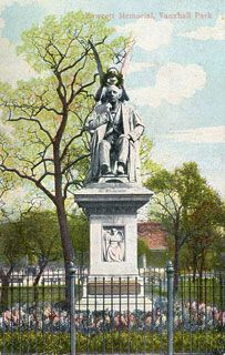 Fawcett Memorial, Vauxhall Park, Vauxhall, Henry Fawcett (1833-1884) was a blind academic, statesman and postmaster-general who campaigned for public open spaces. The statue shown here was demolished in the early 1960s. The card is postmarked September 1907.