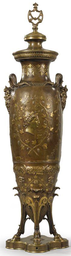 Ferdinand Levillain  French, 1837-1905  A Neo-Grec gilt and patinated bronze lamp  circa 1880