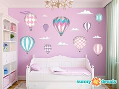 Jumbo Hot Air Balloons Fabric Wall Decals for Girls by SunnyDecals, $134.99