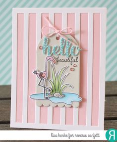 Card by Lisa Henke (050517)  [Reverse Confetti (dies) Hello & Thanks LabelRound Top Tag, Think Pink, Vertical Stripes Cover Panel; (stamps) Think Pink]