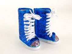 "Glitter Metallic Blue Cheer Leader Sneaker Boots Fits most 18"""" Dolls"