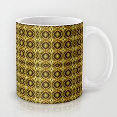#Hypnotic #pattern #op #art #style in yellow and dark green tones #print #Mug by Danflcreativo - $15.00