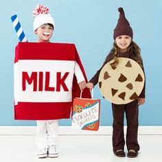 Milk and cookies Halloween costume. I asked Leland what he wanted to be for Halloween and he said a cookie. Maybe Miss Letty can be the milk :) Happy Halloween, Halloween Kids, Halloween Party, Halloween Crafts, Pair Halloween Costumes, Cute Costumes, Costume Ideas, Pair Costumes, Cool Costumes For Boys