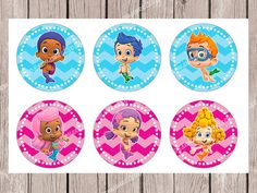 INSTANT DOWNLOAD Bubble Guppies Blue&Pink Cupcake Topper 2 inch PRINTABLES on Etsy, $2.50
