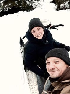 Elizabeth Olsen and Jeremy Renner on vacation in Colorado, March 2016.