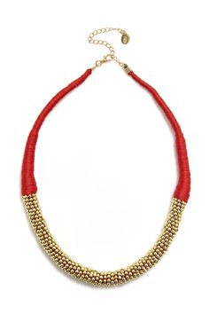"I like this ""Ball Chain Necklace"". On sale for $5 at Equip. It's kinda red but also kinda coral / orangey looking."