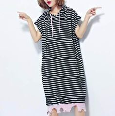 ed7546beae39 Black and white striped sweatshirt with side slit for women,kangaroo pocket  design,long style,online plus size short sleeve hoodie dress with strings  for ...