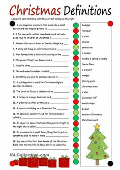 Christmas Definitions (key included) worksheet - Free ESL printable worksheets made by teachers Christmas Trivia, Christmas Worksheets, Christmas Activities, Christmas Traditions, Christmas Printables, Fun Activities, Xmas Games, Holiday Games, Holiday Fun