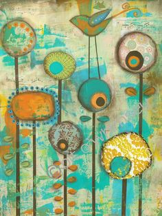Its a Colorful World...12 x 16 print from original mixed media and collage painting by Kandy Myny Flowers Birds Orange Blue
