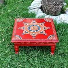 Lalhaveli Religious Prayer Stand Square Shape Decorative Stool End Tables for Housewarming Gift 13 X 13 X Inch Red Color Diy Crafts Love, Diy Home Crafts, Diy Arts And Crafts, Pottery Painting Designs, Paint Designs, Thali Decoration Ideas, Decorations, Easy Home Decor, Diy Room Decor