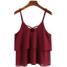Braided Crisscross Layered Chiffon Cami Top (€9,40) ❤ liked on Polyvore featuring tops, shirts, burgundy, crop tops, tank tops, red tank top, cropped tank top, layering shirts, red shirt and crop top
