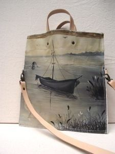 Leslie Oschmann.  Painted canvas bags.