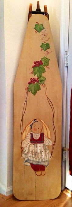 Hand Painted Decorative Antique Wood Ironing Board