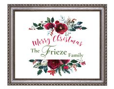 Merry Christmas Printable Art, Personalized family name, Holiday Prints, Merry Christmas Sign, Christmas Decoration *INSTANT DOWNLOAD* Merry Christmas Printable, Merry Christmas Sign, Printable Planner, Printable Wall Art, Mandala Artwork, Family Name Signs, Retro Art, Baby Shower Printables, Christmas Decorations