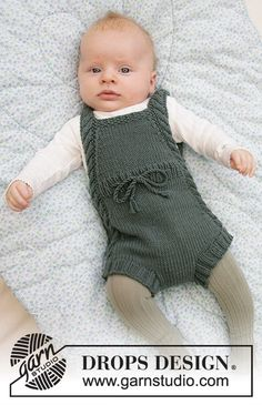 Baby Knitting Patterns, Knitted Doll Patterns, Knitting For Kids, Baby Patterns, Free Knitting, Crochet Patterns, Baby Romper Pattern Free, Drops Baby, Drops Design