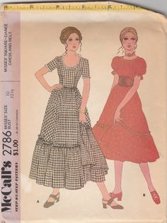 """McCall's 2786  Misses' Square- Dance Dress And Belt   Bust 32.5"""" by…"""