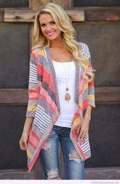 Colorful cardigan and white tank