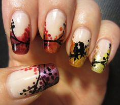 Pinned by www.SimpleNailArtTips.com INTERMEDIATE NAIL ART DESIGN IDEAS -Fall Tree Nails
