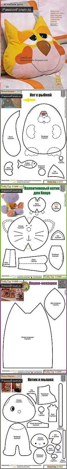 Выкройки мягких игрушек котов / Мир игрушки / Тильда. Мастер классы, выкройки.