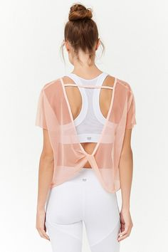 Product Name:Active Sheer Mesh Twist-Back Top, Category:Activewear, Cute Workout Outfits, Workout Attire, Sporty Outfits, Athletic Outfits, Workout Wear, Fashion Outfits, Dance Workout Clothes, Workout Clothing, Fitness Clothing