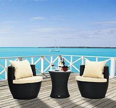 outsunny 3pc stacking outdoor rattan wicker sofa set with table aluminum frame chat seating patio furniture