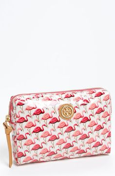 Tory Burch 'Slim Brigitte' Cosmetics Case Pink Multi Flamingo