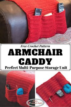 Learn how to crochet the Armchair Caddy which is the ultimate storage unit to store your remotes, yarn, crochet hooks and books and so much more. This free crochet pattern is easier than you might think. Basic Crochet Stitches, Crochet Basics, Crochet Gratis, Free Crochet, Hand Crochet, Crochet Home, Crochet Baby, Crochet Kitchen, Chair Bed