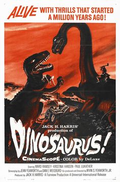 classic posters, free download, free posters, free printable, graphic design, movies, printables, retro prints, theater, vintage, vintage posters, vintage printables, animal poster, wildlife, Dinosaurus! - Vintage Movie Poster
