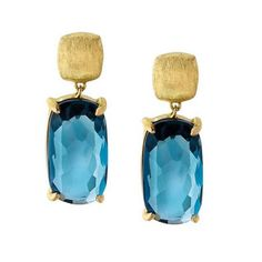 Marco Bicego Murano 18K Yellow Gold & London Blue Topaz Drop Earrings