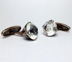 Russian Rock Crystal 875 Sterling Silver Cufflinks  by Miltiadis
