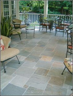 stone flooring backyard patio design ideas slate patio