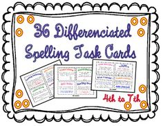 36 Differenciated Spelling Task Cards for Elementary Level