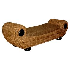 Bring island-inspired style to your entryway or living room seating group with this hand-woven abaca bench, showcasing rolled arms and mahogany accents.