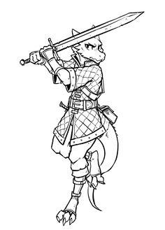 """inktober day 6 -> 'sword' an oc of mine, Isabelle. Fantasy Races, Fantasy Warrior, Fantasy Rpg, Dnd Characters, Fantasy Characters, Character Concept, Character Art, Dnd Dragonborn, Furry Drawing"