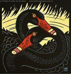 Leslie van der Sluys (1939- 2010) - Australian Swans, 1986, linocut Mosaic Projects, Art Projects, Collagraph Printmaking, Linocut Artists, Pet Birds, Birds 2, Australian Birds, Scratchboard, Animal Faces