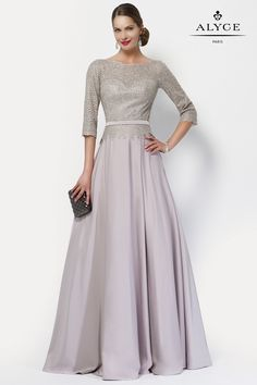 Alyce 27099 A-Line Gown with Length Sleeves How To Dress For A Wedding, Mother Of The Bride Dresses Long, Mothers Dresses, Dress Wedding, Lace A Line Dress, A Line Gown, Dress Long, Paris Dresses, Mob Dresses