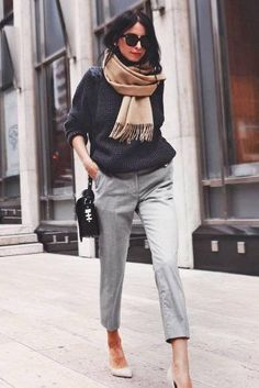 Light grey pants and dark grey sweater with neutral heels business outfit 99 Latest Office & Work Outfits Ideas for Women Casual Work Outfits, Winter Outfits For Work, Business Casual Outfits, Work Attire, Work Casual, Business Fashion, Women's Casual, Business Attire, Spring Outfits