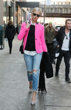 A pop of pink with jeans.
