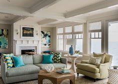 Coastal Living Room. Transitional coastal living room with ocean view. Coastal living room paint color ideas. #LivingRoom #Coastal #BeachHouse #PaintColor Jennifer Palumbo.