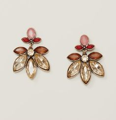 """Light up your look - we love the warm palette of these crystal drop earrings. Goldtone finish. Post back. 1"""" drop."""