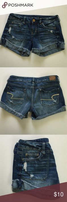 AEO Distressed Jeans Shorts, size 4 American Eagle Outfitters distressed jeans cuffed shorts in size 4. Rise is 7 and inseam is 3.75. Please ask if you have any questions. American Eagle Outfitters Shorts Jean Shorts